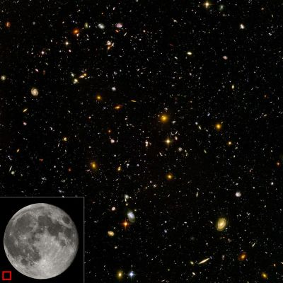 Hubble Ultra Deep Field with Scale Comparison ©©